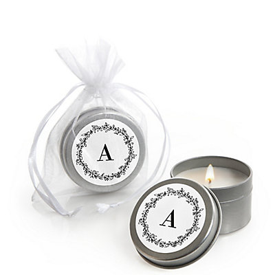 Floral Monogram - Personalized Wedding Candle Tin Favors - Set of 12