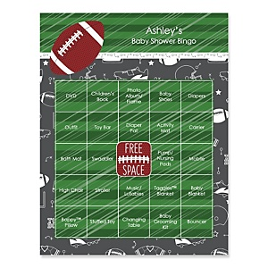 End Zone - Football - Bingo Personalized Baby Shower Games - 16 Count