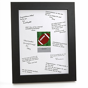 End Zone - Football - Personalized Baby Shower Print with Signature Mat