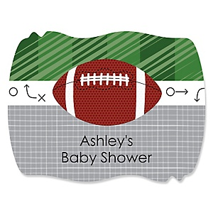End Zone - Football - Personalized Baby Shower Squiggle Stickers - 16 ct