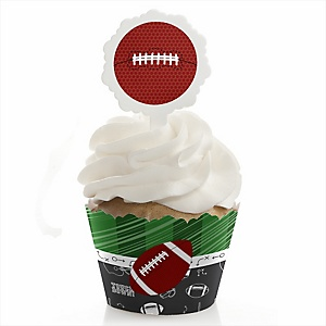 End Zone - Football - Cupcake Wrapper & Pick Party Kit - Set of 24