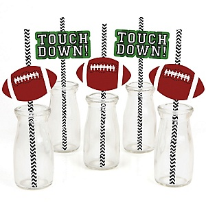 End Zone - Football - Paper Straw Decor - Baby Shower or Birthday Party Striped Decorative Straws - Set of 24