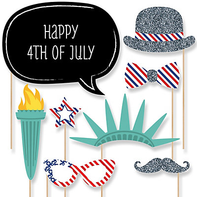 4th Of July - Holiday Party - Photo Booth Props Kit - 20 Props
