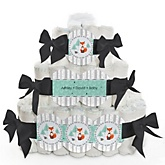 Mr. Foxy Fox - 3 Tier Personalized Square Baby Shower Diaper Cake