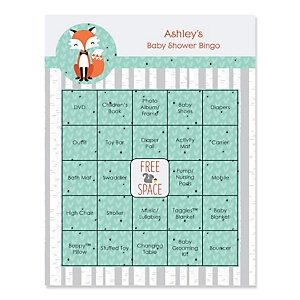 Mr. Foxy Fox - Bingo Personalized Baby Shower Games - 16 Count