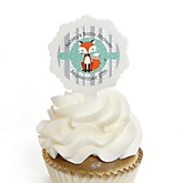 Mr. Foxy Fox - 12 Cupcake Picks & 24 Personalized Stickers - Baby Shower Cupcake Toppers