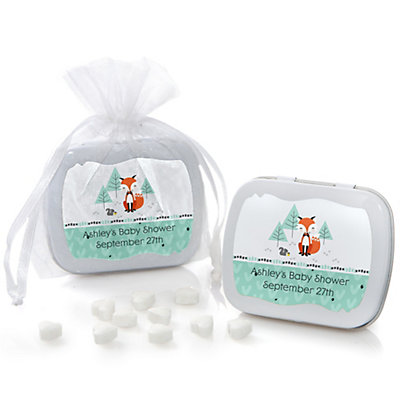Mr. Foxy Fox - Mint Tin Personalized Baby Shower Favors...