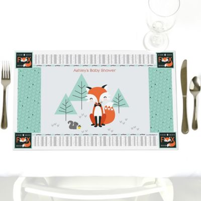 Mr. Foxy Fox   Personalized Baby Shower Placemats