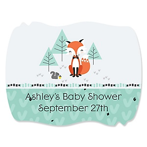 Mr. Foxy Fox - Personalized Baby Shower Squiggle Sticker Labels - 16 Count