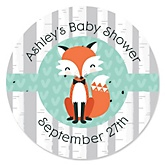 Mr. Foxy Fox - Personalized Baby Shower Round Sticker Labels - 24 Count