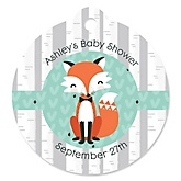 Mr. Foxy Fox - Round Personalized Baby Shower Tags - 20 ct