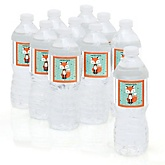 Mr. Foxy Fox - Personalized Party Water Bottle Sticker Labels - Set of 10