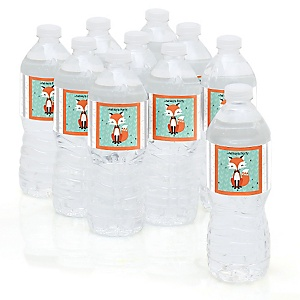 Mr. Foxy Fox - Baby Shower Personalized Water Bottle Sticker Labels - 10 Count
