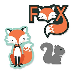 Mr. Foxy Fox - Shaped Baby Shower Paper Cut-Outs - 24 ct