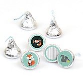 Mr. Foxy Fox - Round Candy Labels Party Favors - Fits Hershey's Kisses - 108 ct
