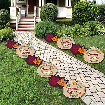Friends Thanksgiving Feast - Pumpkin and Leaf Lawn Decorations - Outdoor Friendsgiving Yard Decorations - 10 Piece