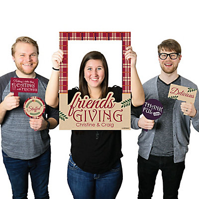 Friends Thanksgiving Feast - Personalized Friendsgiving Photo Booth Picture Frame & Props - Printed on Sturdy Plastic Material