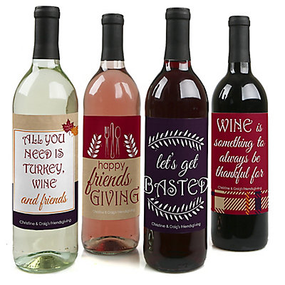 Friends Thanksgiving Feast - Personalized Friendsgiving Wine Bottle Label Stickers - Set of 4