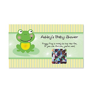 Froggy Frog - Personalized Baby Shower Game Scratch Off Cards - 22 ct