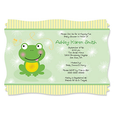 froggy frog baby shower invitations thumb