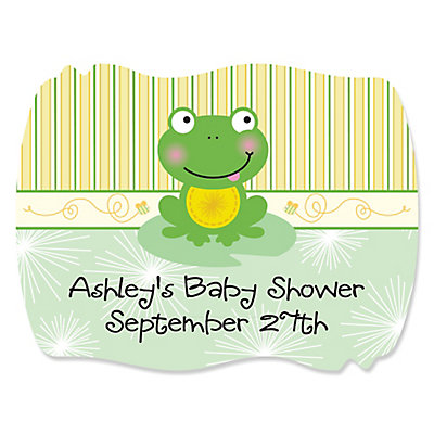froggy frog baby shower squiggle sticker labels babyshowerstuff