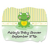 Froggy Frog - Personalized Baby Shower Squiggle Stickers - 16 ct