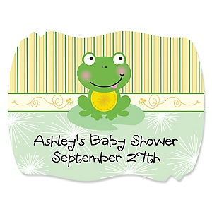 Froggy Frog - Personalized Baby Shower Squiggle Sticker Labels - 16 Count