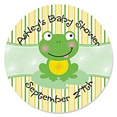 Froggy Frog - Personalized Baby Shower Round Sticker Labels - 24 Count