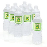 Froggy Frog - Baby Shower Personalized Water Bottle Sticker Labels - 10 Count