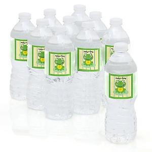Froggy Frog - Personalized Party Water Bottle Sticker Labels - Set of 10