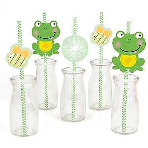 Froggy Frog - Paper Straw Decor - Baby Shower or Birthday Party Striped Decorative Straws - Set of 24