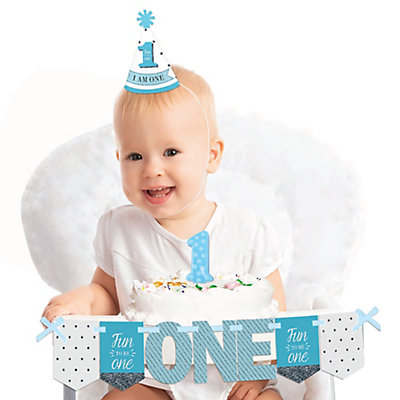 1st Birthday Boy - Fun To Be One - 1st Birthday Boy Smash Cake Decorating Kit - High Chair Decorations