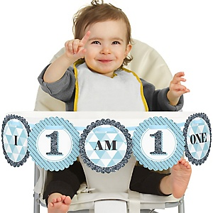 Fun to be One - 1st Birthday Boy - I Am One - First Birthday High Chair Banner