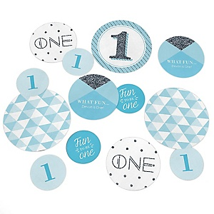 Fun to be One - 1st Birthday Boy - Personalized 1st Birthday Party Table Confetti - 27 Count
