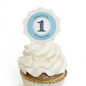 Fun to be One - 1st Birthday Boy - 12 Cupcake Picks & 24 Personalized Stickers - 1st Birthday Party Cupcake Toppers