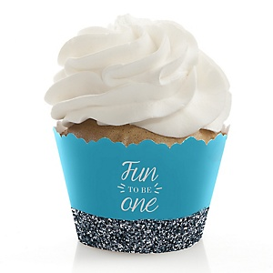 Fun to be One - 1st Birthday Boy - Birthday Party Cupcake Wrappers
