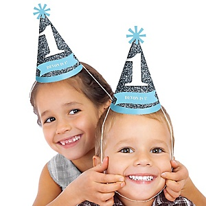 Fun to be One - 1st Birthday Boy - Personalized Birthday Party Hats - 8 ct