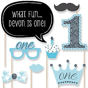 Fun to be One - Boy  - 1st Birthday Party Photo Booth Props Kit - 20 Props
