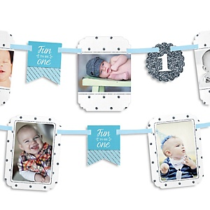 Fun to be One - 1st Birthday Boy - 1st Birthday Party Photo Bunting Banner