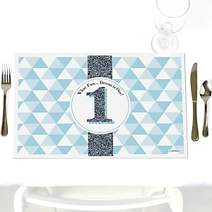 Fun to be One - 1st Birthday Boy - Personalized Birthday Party Placemats