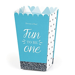 Fun to be One - 1st Birthday Boy - Personalized Birthday Party Popcorn Favor Boxes
