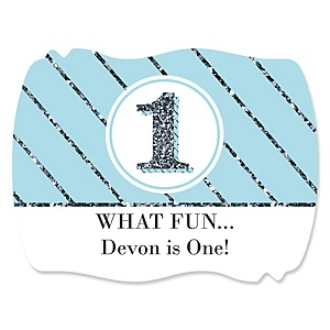 Fun to be One - 1st Birthday Boy - Personalized 1st Birthday Party Squiggle Sticker Labels - 16 Count