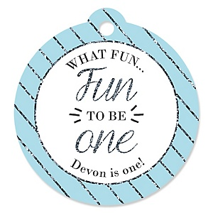 Fun to be One - 1st Birthday Boy - Personalized 1st Birthday Party Round Tags - 20 Count