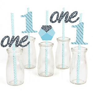 Fun to be One - 1st Birthday Boy - Paper Straw Decor - Birthday Party Striped Decorative Straws - Set of 24