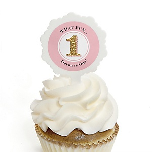 Fun to be One - 1st Birthday Girl - Personalized Birthday Party Cupcake Pick and Sticker Kit - 12 ct