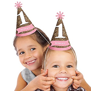 Fun to be One - 1st Birthday Girl - Personalized Cone Birthday Party Hats - 8 ct