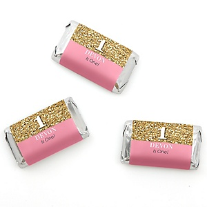 Fun to be One - 1st Birthday Girl - Personalized Birthday Party Mini Candy Bar Wrapper Favors - 20 ct