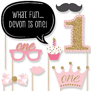 Fun to be One - Girl  - 1st Birthday Party Photo Booth Props Kit - 20 Props