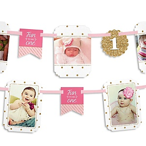 Fun to be One - 1st Birthday Girl - Birthday Party Photo Garland Banners