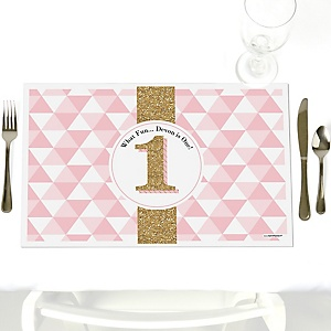 Fun to be One - 1st Birthday Girl - Personalized Birthday Party Placemats